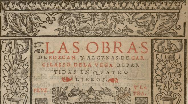 Detail of the cover of 'The works of Boscán and some by Garcilaso de la Vega distributed into four books' © Biblioteca Nacional de España