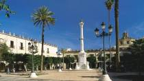 Plaza Vieja square with palm trees and commemorative monument. Almería © Turespaña