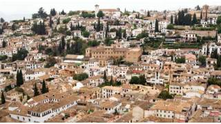 View of the Albaicín quarter from the air. Granada.