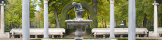 Fountain of the boy with the thorn, in the gardens of the Royal Palace of Aranjuez © Madrid