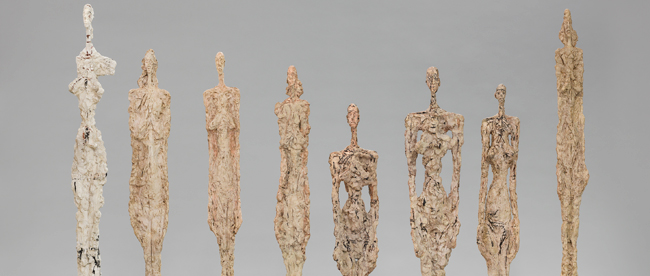 "Alberto Giacometti, ""Women In Venice (Femmes de Venise)"", 1956 Plaster and painted plaster, between 108-138 cm high. Giacometti Foundation, Paris © Succession Alberto Giacometti ,VEGAP, Bilbao, 2018"