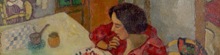 Detail of: «Strawberries. Bella and Ida at the table (Les fraises ou Bella et Ida à table)», 1916. Oil on cardboard over canvas, 45.5 x 59.5 cm. Private collection. Photo © Ewald Graber © Marc Chagall, Vegap, Bilbao 2018