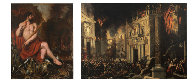 Vulcan and Fire. Peter Paul Rubens. Oil on canvas, 17th century // The Burning of Troy. Francisco Collantes. Oil on canvas, 17th century. © Museo Nacional del Prado