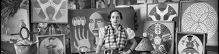 """Maruja Mallo in her studio, surrounded by her work"". Photo: Vicente Moreno, 1936. Moreno Archive No. 28687_B © Fototeca del Instituto del Patrimonio Cultural de España, Ministerio de Educación, Cultura y Deporte"