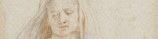 Detail from: Peter Paul Rubens (1577-1640), Study of a Seated Woman (The Virgin), circa 1606. Black and red chalk, with touches of white bodycolour on paper. © Victoria and Albert Museum
