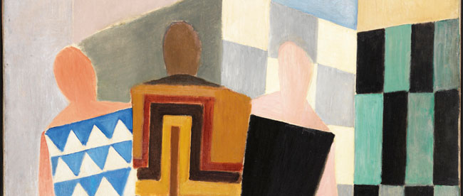 "Detail of: Sonia Delaunay, ""Simultaneous Dresses (Three Women, Forms, Colours)"", 1925. Oil on canvas. 146 x 114 cm (168.5 x 137 cm with frame). Thyssen-Bornemisza Museum, Madrid  © PRACUSA, S.A."