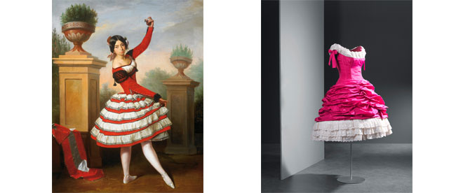 Left image: Esquivel y Suárez de Urbina, Antonio María. Flamenco dancer Josefa Vargas, 1850. Oil on canvas, 91 x 72 cm. House of Alba collection. Las Dueñas Palace. Seville. Right image: Fuchsia lace taffeta cocktail dress finished with ivory-coloured embroidered, gathered straps, 1955 © Museo Cristóbal Balenciaga