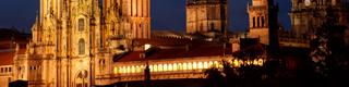 View of Santiago de Compostela cathedral by night.