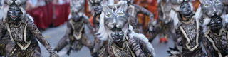 Dancers dresses as tigers during the Moors and Christians festival in Ontinyent. Valencia © Ruben Montava. Oficina de turismo de Ontinyent