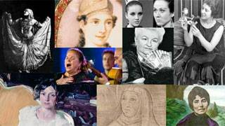 Collage with an image of several important women from Spanish culture