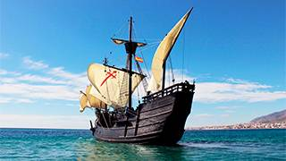 Replica of the Victoria in the exhibition The Longest Voyage © Acción Cultural Española (AC/E)