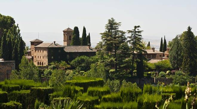 Gardens in the Generalife in Granada