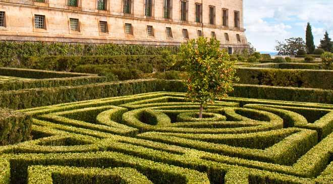 Gardens surrounding the San Lorenzo Monastery in El Escorial.  San Lorenzo de El Escorial, Madrid.