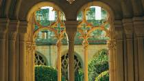 A view of the cloister from the gallery arches of the Santes Creus Royal Monastery, Tarragona © Turespaña