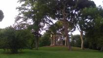 View of the gardens in the El Capricho park in Alameda de Osuna, with pavilion. Madrid