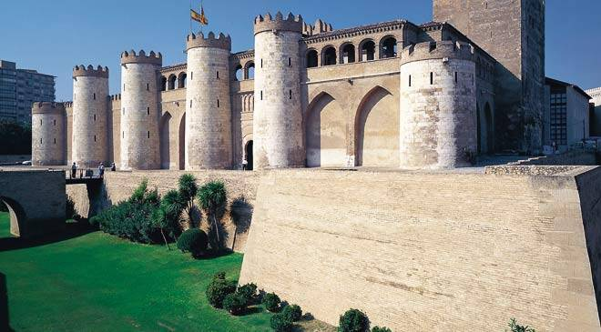 Aljafería Palace: monuments in Zaragoza at Spain is culture.