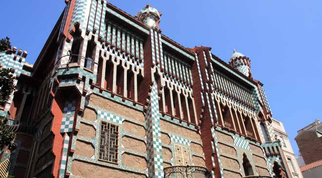 Partial view of the façade of the Casa Vicens building. Barcelona.