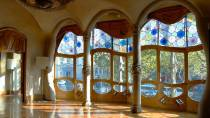 Interior of the Casa Batlló house, with a view of the large window. Barcelona.