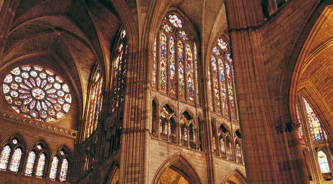 Interior Of Leon Cathedral With Its Spectacular Stained Glass Windows CTurespana