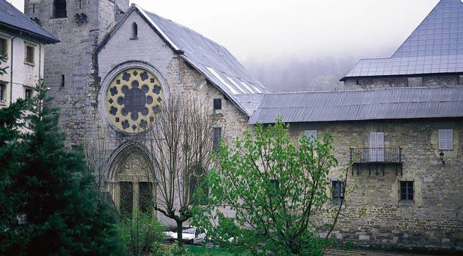 Main façade of the royal collegiate church of Roncesvalles. Navarre © Turespaña