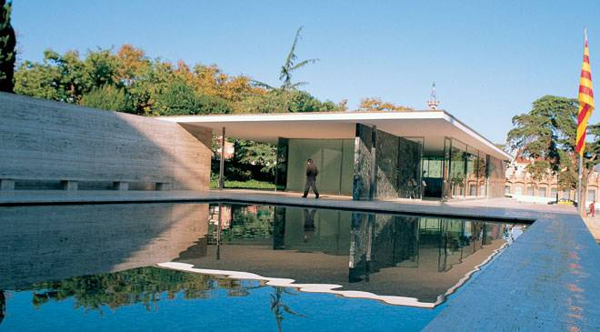 mies van der rohe pavilion monuments in barcelona at spain is culture. Black Bedroom Furniture Sets. Home Design Ideas