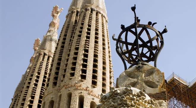 Detail of the towers of the Sagrada Familia cathedral. Barcelona