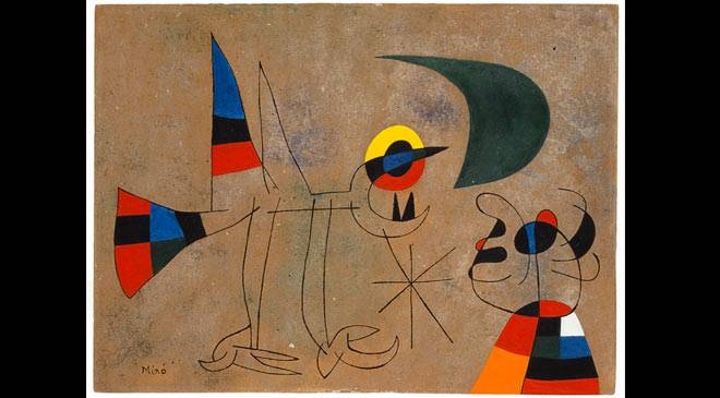 Joan Miró: The bird's song to the moon dew, 1955. Oil on cardboard. 27 x 37 cm. Private collection, on temporary loan © Successió Miró 2016