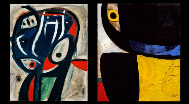 From left to right:  Joan Miró: Character, 1977. Oil on canvas. 92 x 73 cm. Head, bird, 1976. Oil on canvas. 65 x 54 cm. Private collection, on temporary loan © Successió Miró 2016