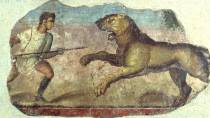 Painting from the Amphitheatre. Hunter with lioness. National Museum of Roman Art in Mérida © Ministerio de Cultura