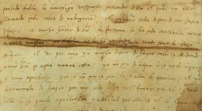 Handwritten letter from Christopher Columbus to his son Diego. General Archive of the Indies © Ministerio de Cultura