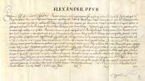 Papal dispensation for granting the title of knight of the Order of Saint James to Diego de Silva Velázquez. National Historical Archive. Madrid © Ministerio de Cultura