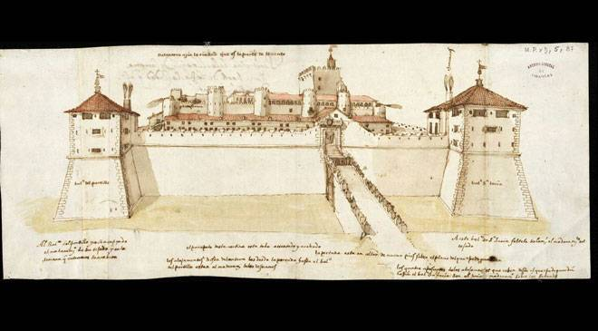 Drawing of the Aljafería Palace in Zaragoza, from the east. General Archive of Simancas © Ministerio de Cultura