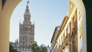 View of the Giralda tower from an arch in the square. Seville © Turespaña