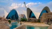 General view of the Oceanogràfic building at the City of Arts and Sciences. Valencia.