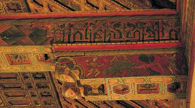 Detail of the polychrome coffered ceiling in Teruel Cathedral © Turespaña