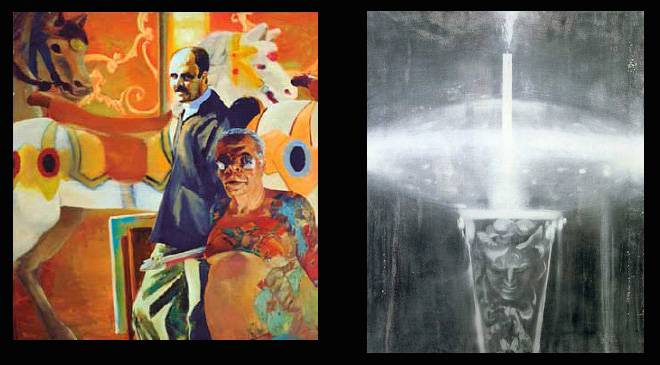 "Left: Erich Fischl, ""The Sunday paper"", 1992; right: Ross Bleckner, ""Pedestal"", 1992. On loan from Soledad Lorenzo to the Reina Sofía National Art Centre."
