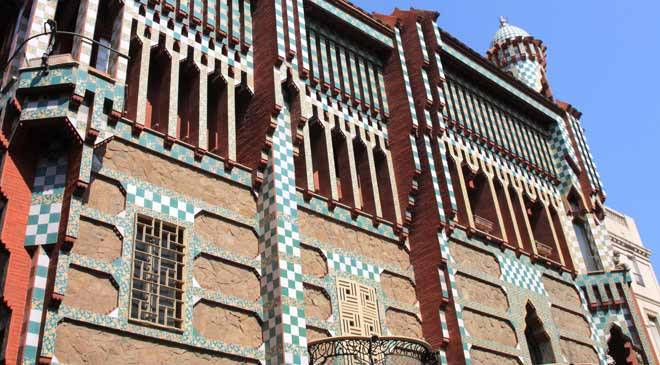 Detail of the façade of the Casa Vicens. Barcelona