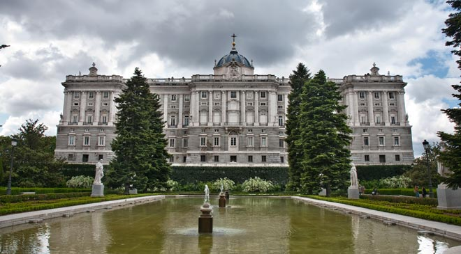 View of the Royal Palace from the Sabatini Gardens. Madrid
